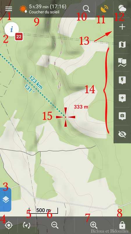 L'écran principal de Locus Map